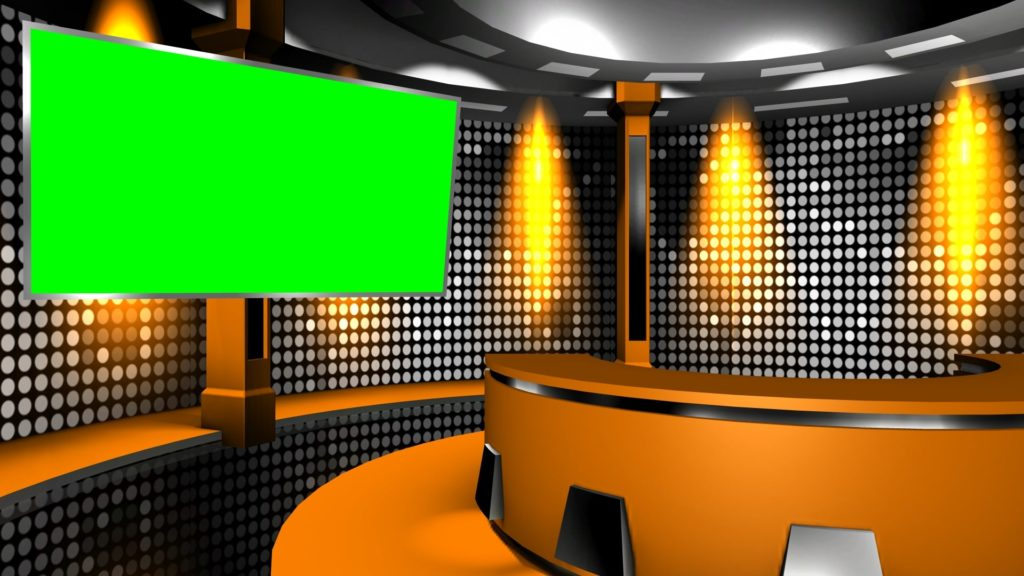 A Still Virtual Television Studio Background With Green Screen